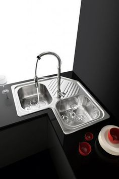 2-bowl kitchen sink / stainless steel / angle / with drainboard 1LFS82A F.lli Barazza Srl