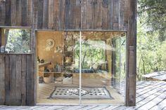 A peek inside the sliding glass doors at Mason St. Peter's surf shack