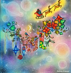 """Colored page from Johanna Basford's coloring book """"Johanna's Christmas"""". Colored by Kelsey Everett."""