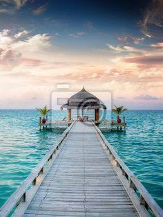 Fototapete Sonnenauf-/ untergang Jetty at Maldives / Malediven
