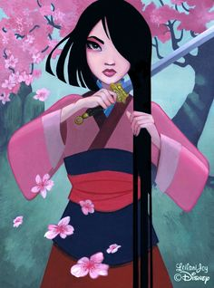 """Short Hair,"" by Inspired by Mulan. Exclusively for Disney's WonderGround Gallery. Disney Belle, Disney Princess Art, Disney Fan Art, Pocahontas Disney, Disney Kunst, Arte Disney, Disney Cartoons, Disney Movies, Disney Characters"