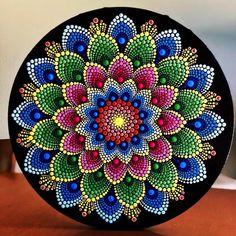 Color burst dot Mandala on round stretched canvas in shades of yellow, pink, green, blue Mandala Art Lesson, Mandala Drawing, Mandala Painting, Mandala Design, Mandala Pattern, Mandala Painted Rocks, Mandala Rocks, Art Doodle, Mandala Canvas