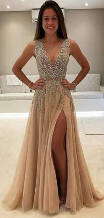 Charming A-Line Split-Front V-Neck Beading Long Prom Dress · SheDress · Online Store Powered by Storenvy