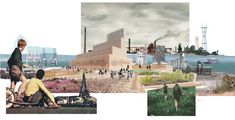 Tatiana Bilbao - collage - masterplan for Hunter's Point in San Francisco Architecture Drawing Plan, Conceptual Architecture, Architecture Drawing Sketchbooks, Architecture Graphics, Architecture Diagrams, Landscape Architecture Perspective, Masterplan Architecture, Landscape Architecture Portfolio, Commercial Architecture