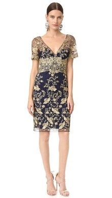 Marchesa Notte Cocktail Sheath Dress | SHOPBOP |  NAVY BLUE with GOLD overlay