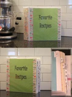 "My new and improved recipe binder.  This is how I organize my ""go to"" recipes, rather than having 500 cookbooks and magazine clippings.  Found free printable tabs here:  http://www.maiathebee.com/2011/12/weekly-challenge-recipe-binder-and-free.html  (Thank you!)  I used scrapbook paper in the dividing sleeves. The inside pockets are for recipes I want to try. :)"