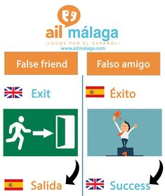"If someone has ""éxito"" in Spanish, it doesn't mean that he's #leaving but having #success! Don't be confused by these #falsefriends :) #LearnSpanish #SpanishSchool #FalseFriends"