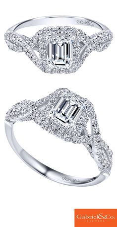A 14k White Gold Diamond Halo Engagement Ring. Discover your perfect engagement ring at Gabriel & Co.