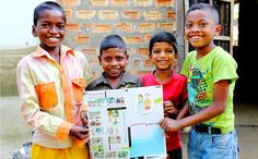Debashish with his friends holding a hygiene education poster.