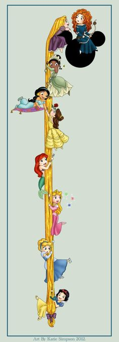 #Disney #princesses hanging by a #hair, and in order no less!