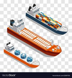 Modern cargo ships isometric design set of vector image on VectorStock Boat Vector, Ship Vector, Freight Transport, Low Poly Games, Isometric Design, Military Equipment, Vector Design, Design Set, Transportation