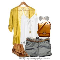"""""""Gray Chino Shorts"""" by uniqueimage on Polyvore"""