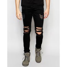 Dark Future Super Skinny Jeans With Extreme Rips ($65) ❤ liked on Polyvore featuring men's fashion, men's clothing, men's jeans, black, mens torn jeans, mens skinny fit jeans, mens ripped jeans, mens distressed skinny jeans and mens destroyed jeans