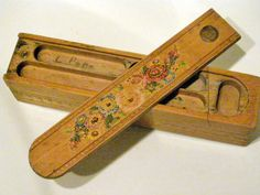 Wooden pencil boxes before they started to make 'em in plastic - the plastic ones came in the late School Pencil Boxes, Wooden Pencil Box, Objets Antiques, Nostalgia, Vintage School, My Childhood Memories, Retro Toys, My Memory, The Good Old Days