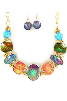 This is just so fun...and so ME!!!!  Illuminous Vitrail Etta Necklace Set on Emma Stine Limited
