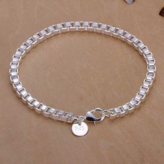 Solid Silver Jewelry Box Chain Bracelet For Women Men Silver Jewelry Box, Silver Bangle Bracelets, Sterling Silver Jewelry, Jewelry Bracelets, Silver Ring, Silver Earrings, Link Bracelets, Chain Bracelets, Silver Cuff
