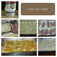 6 Boneless Pork Chops 1 1/4 Cup Sour Cream 2 Cans Cream of Chicken Soup 1 Can Cream of Mushroom Soup 1 Cup Milk 1 1/2 Cups shredded Cheddar Cheese 1 Onion Sliced Thin 10 small to medium Potatoes Sliced thin 1 Canister of French's Onion Salt/Pepper/Garlic Salt   Line a casserole dish w foil. Spray cooking spray on foil. Season Pork Chops.  Mix Sour Cream,Milk, Creamed Soups, 1/2 of the cheese. Coat dish w some of the soup mixture.  Start w layer of potatoes, onions. Lay Seasoned pork chops… Thin Pork Chops, Boneless Pork Chops, Baked Pork Chops, Cream Soup, Cream Of Chicken Soup, Sour Cream, Creamed Mushrooms, Stuffed Mushrooms, Stuffed Peppers