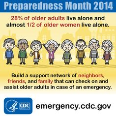 Form a support network with older adults in your life. Check on elderly neighbors after a disaster and talk to older adults in your family about their emergency preparedness plan.