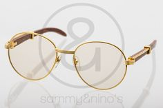 Image of Cartier wood gold:: Vintage Sunglasses