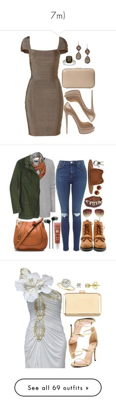 """""""7m)"""" by natalyasidunova ❤ liked on Polyvore featuring Hervé Léger, Christian Louboutin, Ann Taylor, FOSSIL, H&M, Polo Ralph Lauren, Janessa Leone, Chloé, Bling Jewelry and Honora"""