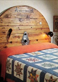 empty industrial wooden spool idea | Here is an idea that is pretty brilliant... a cable spool headboard ...