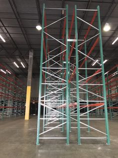 Newly installed warehouse storage system – FlexRack® pallet rack from Next Level. Side view of pallet rack frames. Warehouse, Pallet, Side View, Storage, Frames, Purse Storage, Shed Base, Palette, Larger