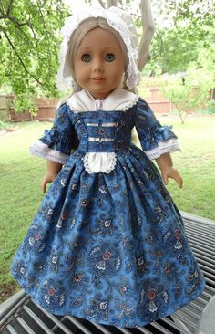 Colonial Style Dress, Fichu, Cap and Slip for American Girl dolls Felicity, Elizabeth, Caroline, by  Designed4Dolls on Etsy  $36.95