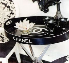 Chanel Side Table via Natsaha Cat  (I think this is Nicky Hilton's table! So damn cool.)