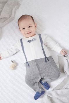 10 Grey White Smart Dress Up Sleepsuit 0mths 2yrs