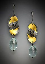 Gold, Silver & Stone Earrings by Judith Neugebauer