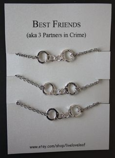3 Partners in crime matching Best Friends Bracelets - Silver Handcuffs Bracelet, handcuffs charm bracelet, bracelet handchain BFF jewelry. I want this for my best friend and I!!!!!