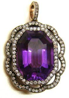 Late 19th century amethyst and diamond pendant brooch, c. 1890