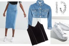 How to wear denim on denim the right way -- midi skirt, tank, jean jacket, sneakers College Fashion, School Fashion, Denim Fashion, Womens Fashion, Fashion Tips, Fashion Bible, Double Denim, Britney Spears, Style Inspiration
