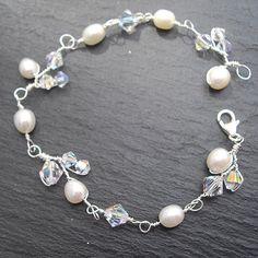 Pearl and Crystal Bracelet Wedding  or Bridal by WeddingAndGems, £25.99