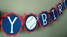 Baseball Party  Happy Birthday Banner by ScrapYourStory on Etsy, $27.95