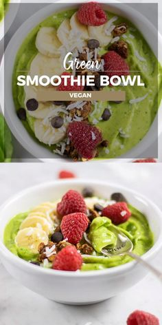 Vegan Green Smoothie BowlThanks biolisa for this post.Learn to make the best Green Smoothie Bowls! I like my smoothie bowls to be thick, like sorbet or soft serve ice cream! Read about how to make the perfect textured vegan green smoothie bow# Bowl Smoothie Bowl Vegan, Smoothie Vert, Green Smoothie Recipes, Fruit Smoothies, Healthy Smoothies, Healthy Drinks, Healthy Snacks, Smoothie Detox, Smoothie Bowl Green