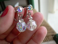 Vintage Faceted Aurora borealis crystal earrings in screw back  style super sparkly