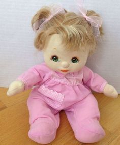 Vintage 1985 Mattel MY CHILD Doll Blonde pigtails Green Eyes #DollswithClothingAccessories