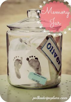 Make your own memory jar...this is darling....wish I would have done this with my own....;) Nursery ideas and inspiration  #nursery #inspiration #baby