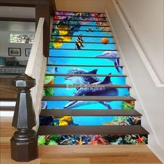 Fishes Plants and Dolphins in Deep Sea Waterproof Stair Murals Fische Pflanzen und Delfine in Deep Sea Waterproof Stair Murals Stair Stickers, Diy Wall Stickers, Removable Wall Stickers, Wall Decals, Deep Sea 3d, Finishing Stairs, Stairway Art, Home Stairs Design, Small Space Interior Design