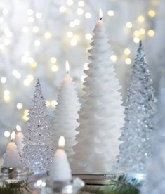 Dreamy white trees. We love fresh winter white decor for the holidays. #cantwait #holiday2014 #holidays