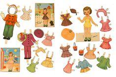 Retro Girl Paper Doll Printable Pinafores Digital Download 1940s Vintage Paper Doll Ephemera Birthday Party Set Retro Paper Doll