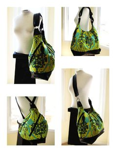 Green floral bag. extra large convertible backpack, messenger, tote, diaper bag leather straps & bottom - READY TO SHIP