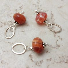Add a Charm Necklace Orange Fire Agate Charm Pendant by 916Designs, $4.50