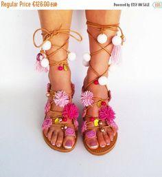 Pink Pom Pom Sandals Tie Up Gladiator Sandals by ElizabethShoes Pom Pom Sandals, Pink Sandals, Boho Sandals, Gladiator Sandals, Leather Sandals, Shoes Sandals, Chunky Sandals, Summer Sandals, Leather Bag