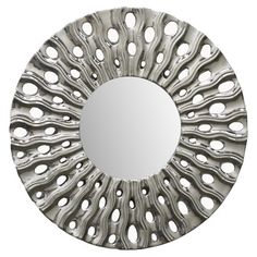 """Mendon Porcelain Wall Mirror in Silver Construction Material: Porcelain and mirrored glass Color: Silver Dimensions: 16"""" Diameter"""