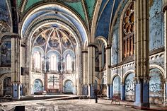 The historic Saint Boniface church,  Abandoned by the Archdiocese of Chicago in 1990.     Photo copyright Eric Holubow