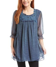 Loving this Blue Layered Silk-Blend Peasant Tunic on  zulily!  zulilyfinds  Angelic 68df28cf8