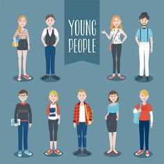 Коллекция молодых людей Бесплатные векторы