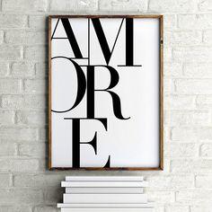 Italian Poster, Amore Print, Romantic Print, Typography Art Bedroom Print Love Print Love In Italian Black and White Print Larger Small Art, Large Wall Art, Italian Word For Love, Italian Posters, Blueprint Art, Black And White Posters, Love Posters, Diy Wall Art, Wall Decor